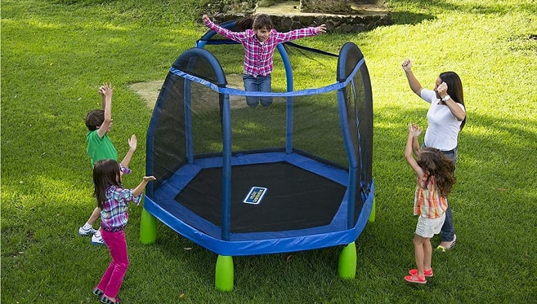 kids around trampoline