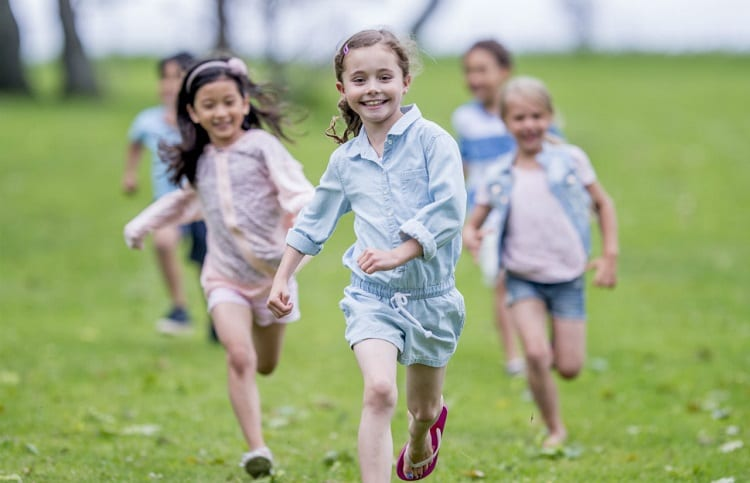 children running in the backyard