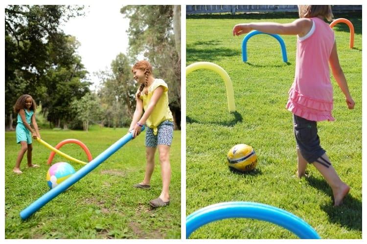 kids palying Kickin' Croquet