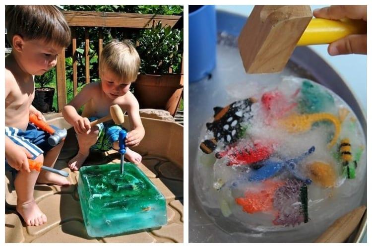 kids playing Ice Block Treasure Hunt