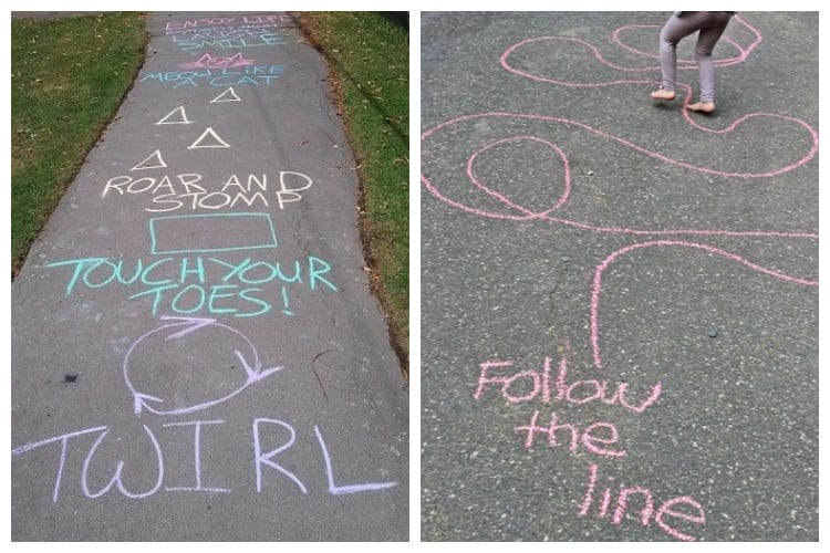 colors and shapes on sidewalk