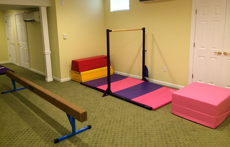 remodelling basement for kids gymnastic